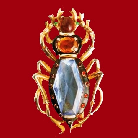 Insect rare brooch. Metal, gilding, blue glass, red and emerald cabochons. 1930's. 7.5 cm. £ 465-665 ROX