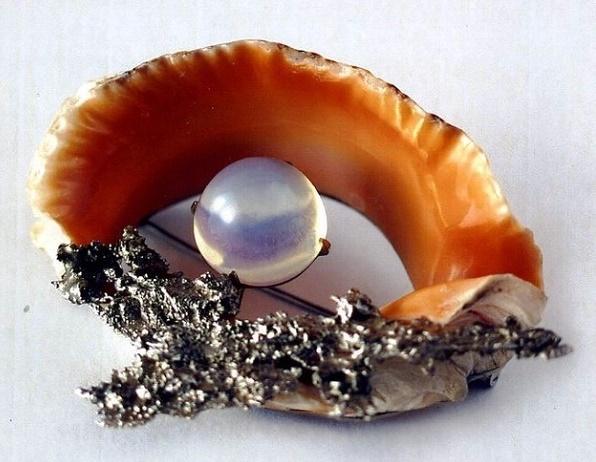 Lagoon brooch. 2001. Melchior, bronze, shell, erklez (glass)