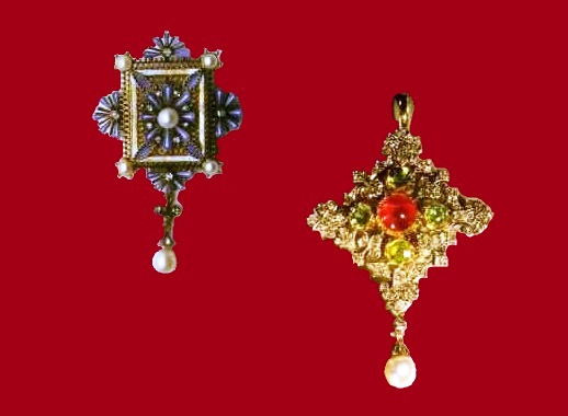 Left - Gold pendant with enamel, pearls and diamonds. 1875s. Right - Rhomboid pendant with ruby, pearls, olivines and diamonds. 1895