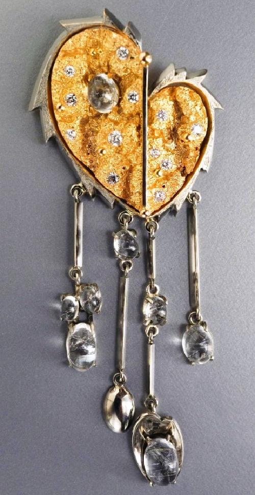 Life, Tears and love necklace. Tompak, gilding, nickel, Tourmaline quartz, zircons. Mixed technique. 2004