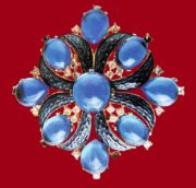 Maltese cross brooch. Blue cabochons, metal, gilding, blue enamel, rock crystal. 1950's. 6.25 cm £ 70-80 CRIS