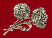 Marcasite Flower Brooch Pin. 1960s