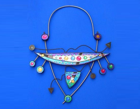Molecular Equation Neckpiece, L 51cm. Stainless steel, metal leaf