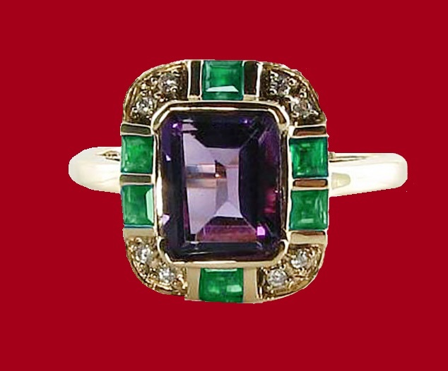 Natural Amethyst, Emerald and Diamond Ring
