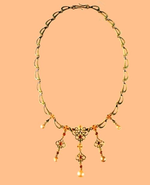 Delicate Necklace of gold with enamel and gems. Around 1900. Free interpretation of plant patterns can be regarded as a recognition of art nouveau by masters