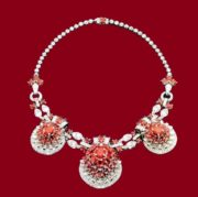 Necklace with rubies and diamonds by Cartier. 1930. To the necklace was also attached a gold bracelet, on which it was possible to attach two side clips