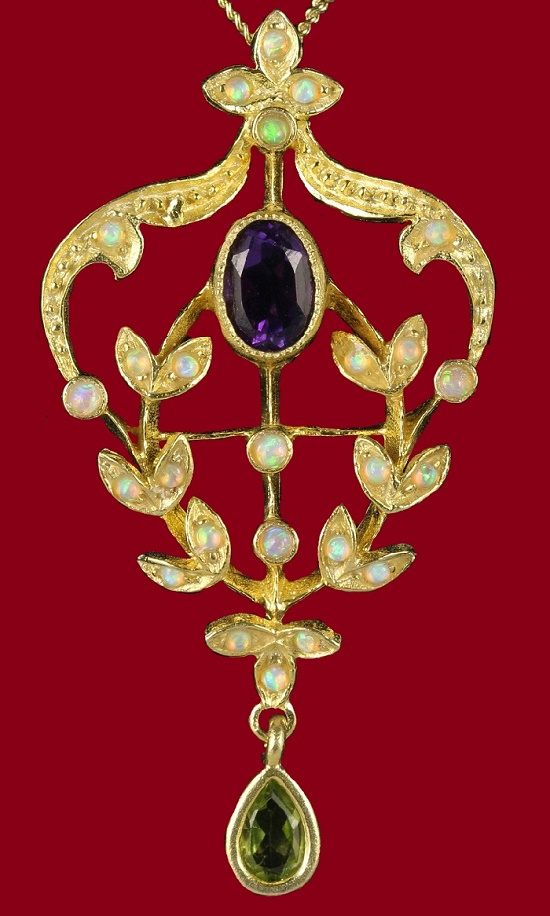 Opal, amethyst gold pendant. Early 20th century Suffragette costume jewelry