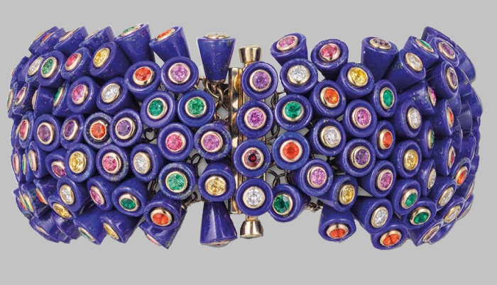Paris Nouvelle Vague 18-karat gold bracelet. Spinels, diamonds, pink and yellow sapphires, green garnets, amethysts, emeralds, and fire opals, set into 252 cups carved from lapis lazuli