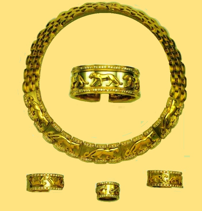 Parure gold with diamonds. 1990. Environmental themes made jewelers turn to nature. The motif of the Panther, became for Cartier a symbol of the aggressive sensuality and mobility of a modern woman