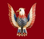 Patriotic brooch American eagle. Gold plated silver, colored enamels. 1940's. 5 cm. £ 120-135 TR