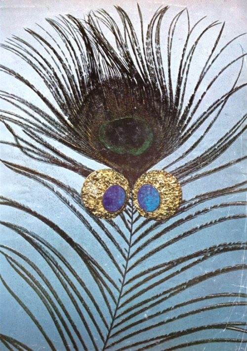Peacock feathers and opals are symbols of good luck for Jocelyn Burton. Published in September 1969 Vogue