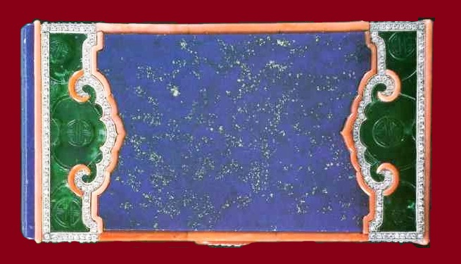 Rare Powder box, lapis lazuli, jade, corals and diamonds in oriental style. 1925