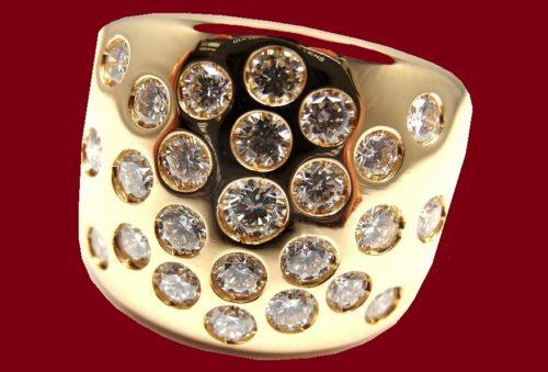 Rare authentic Hermes 18k Yellow Gold Diamond Ring