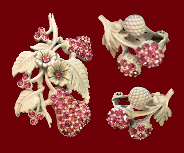 Rare set of brooch and earrings. 1950s. Enameled flowers, cherries, and pears set with perfect pink rhinestones