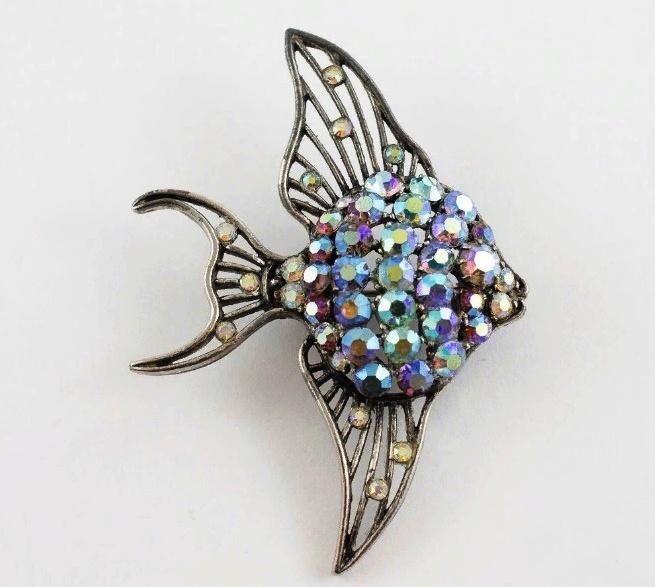 Rare vintage brooch Fish, silver metal, rhinestones