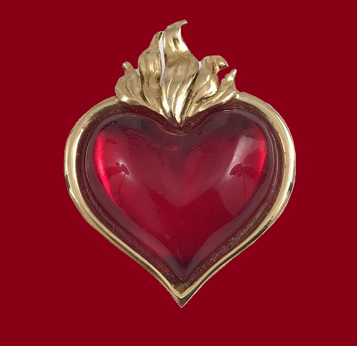 Red lucite heart brooch