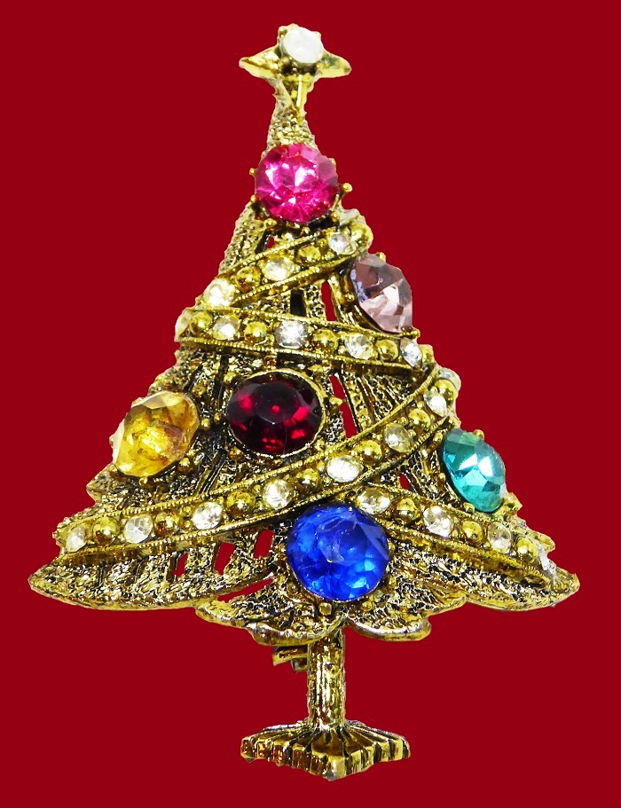 Rhinestone Christmas Tree Pin. 1950s