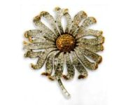 Rhodium plated metal brooch, transparent and color citrina rhinestone. 1930's. 9 cm £ 400-500 CRIS