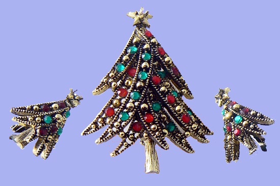 Ribbon decorated Christmas Tree Brooch and Earrings