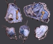 Secrets of the seabed, a set. Metal, silvering, gilding, moss agate, mother of pearl. Casting, forging, chasing, soldering. 2006