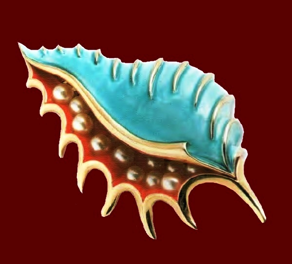 Shell brooch. Colored enamels, artificial pearls, metal, gilding. 1950's. length 8cm