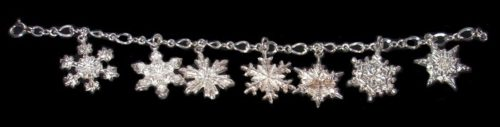 Snowflake Christmas bracelet with charms. Vintage, 1960-1970s. Sterling Silver 925