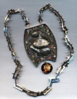 'The Last Hero' totem. Nickel, silver, morion, corundum, sapphire, blue spinel, zircon, black fianite, alpanite, emerald