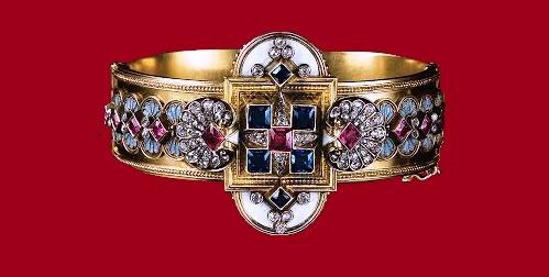 The end of the 19th century bracelet. Gold, sapphires, rubies, diamonds, enamel