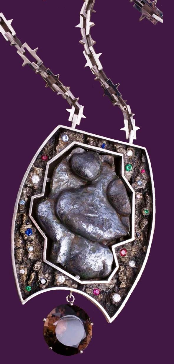 The last hero, totem. Nickel, silver, morion, corundum, sapphire, blue spinel, citron, black fianit, alkane, emerald, casting slag of the 18th century. 2005