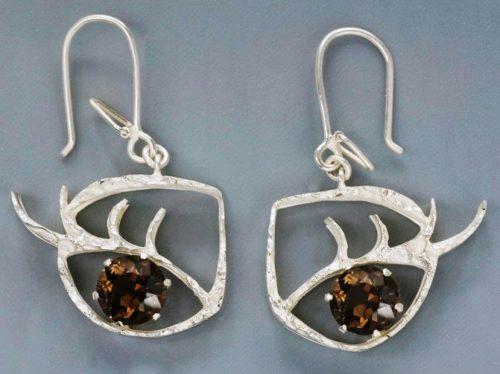 The mirror of one's heart. Earrings. Metal, gilding, rauchtopaz. Casting, forging, soldering. 2006
