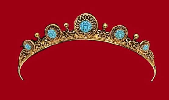 Tiara. About 1870. Gold, turquoise