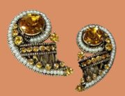 Topaz Colored Rhinestone and Faux Seed Pearl Earrings