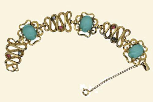 Turquoise Glass Bracelet, 1950s