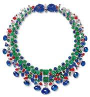 Tutti Frutti necklace. 1936. 43cm. Briolette-cut sapphires, diamonds, emeralds, rubies, platinum, white gold