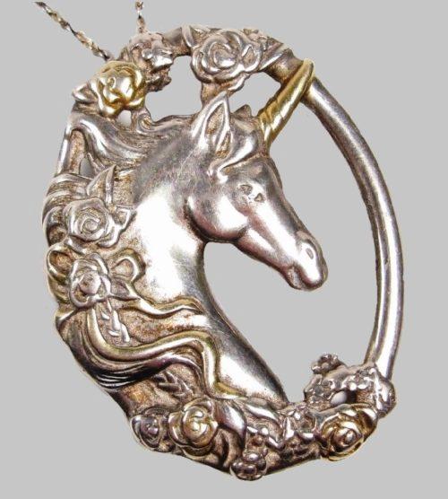 Unicorn pendant, sterling silver