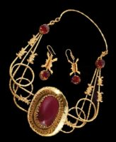 'Vladimir Central' (famous prison in Russia) set of necklaces and earrings. Metal, gilding, zircons, decorative glass