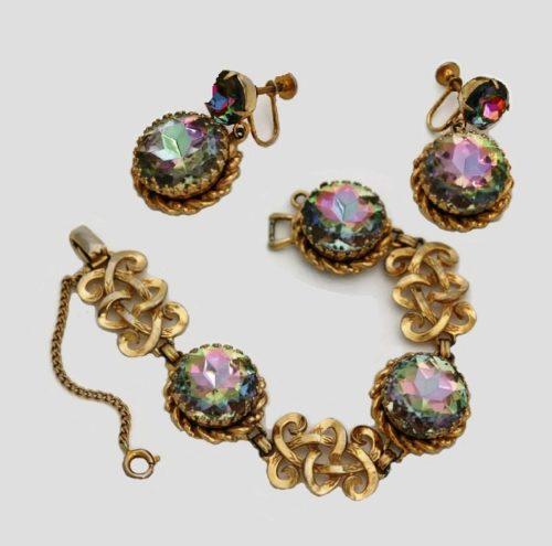 Watermelon glass, jewelry alloy bracelet and earrings. 1950s