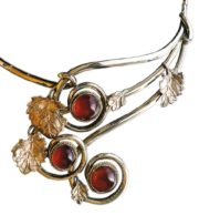 Winter cherry necklace. 1996. Melchior, silver, cornelian