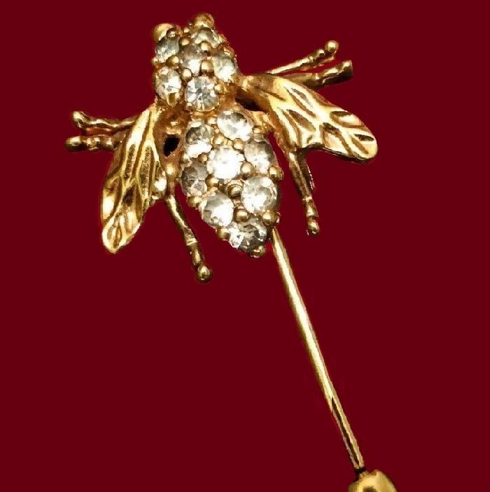 1960s Century Bee Bug Stick Hat Pin Brooch