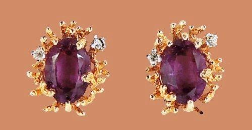 Modernist Faux-Amethyst Rhinestone Earrings