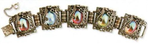 A bracelet. Metal gold colors, colored glass cabochons. 1970s. 17.75 cm £ 35-45 ABU