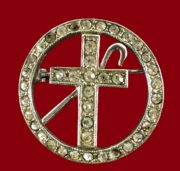 A cane and a cross, a vintage brooch, Masonic motifs. 1960s