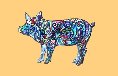 Acryl painted pig brooch