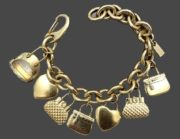 Adjastable bracelet, gold metal with hearts and bags charms