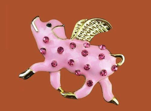 Angel pig brooch