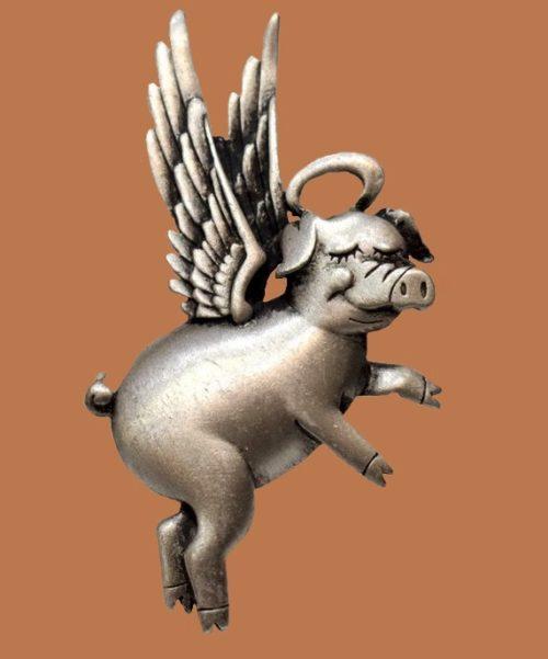 Angel pig brooch by JJ