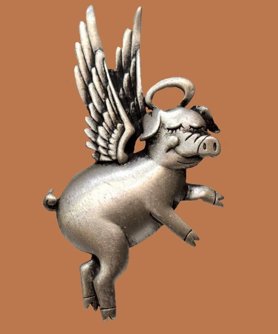 Angel pig brooch by JJ