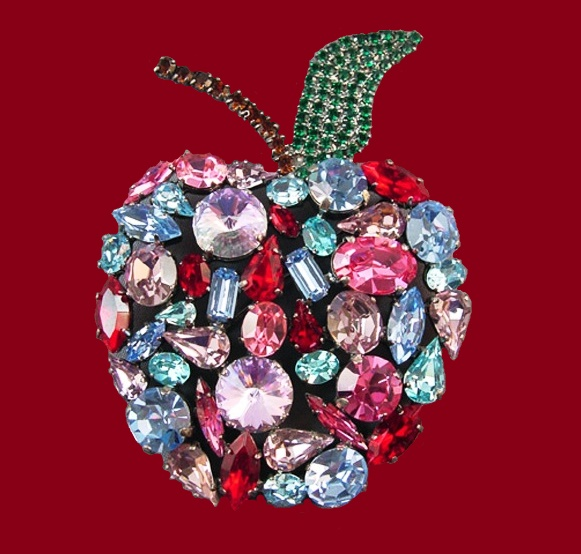 Apple, from the collection of the 'Secret Garden'. Rock crystal colors of ruby, fuchsia, aquamarine, amethyst, emerald. The end of the 1990s. length 9.5 cm. £ 90-120 CRIS