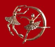 Ballerinas, 1940s brooch of silver decorated with antique rhinestones