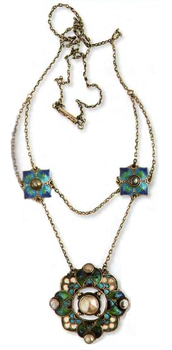 Beautiful Necklace with pendant. metal, gilding, enamel, artificial pearls. 1905. Circumference 42 cm £ 800-900 RG